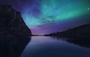 stars, Switzerland, landscape, sky, lake