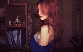redhead, girl, hair in face, long hair, red lipstick
