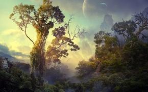фэнтези, свет, природа, луна, деревья