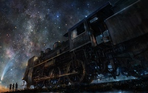 stars, artwork, train