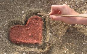 love, sand, beach