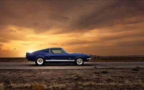 car, blue cars, Ford Mustang