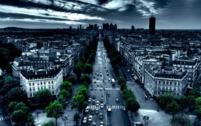 city, car, street, Paris, road, night