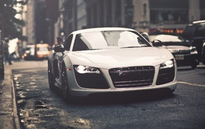 white cars, car, Audi R8