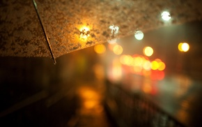 lights, rain, night, blurred