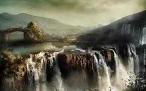 водопад, природа, вода, пейзаж