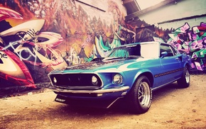 Ford Mustang, car, blue cars, Ford Mustang Mach 1, muscle cars, Shelby GT500