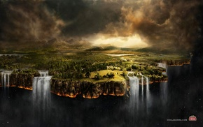 fantasy art, landscape, waterfall
