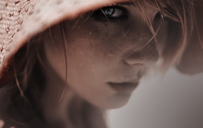 freckles, girl, eyes, face