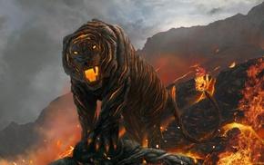 fire, tiger, volcano, lava