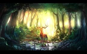 deer, nature, forest, animals, digital art