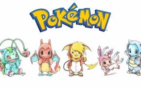 Bulbasaur, Pikachu, Charmander, Eevee, Squirtle