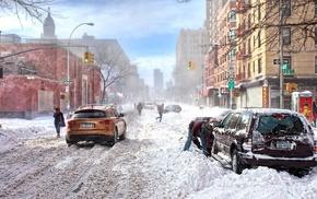 машина, дорога, снег