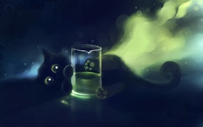 glass, black cats, Apofiss, painting, DeviantArt, cat