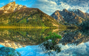 lake, mountain, HDR, reflection, landscape