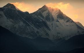 снег, зима, горы, пейзаж