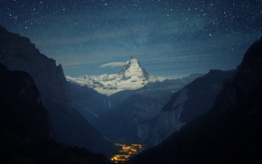 snow, night, stars, lights, mountain, landscape