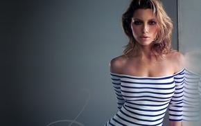 striped clothing, girl, Jessica Biel, brunette