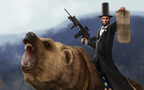Grizzly Bears, machine gun, gun, bears, Abraham Lincoln