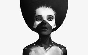 произведение искусства, белый, черный, монохром, девушка