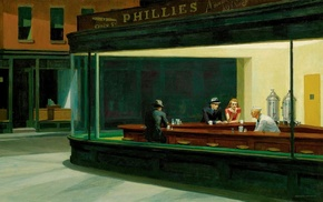 Nighthawks, painting, restaurant, classic art, Edward Hopper