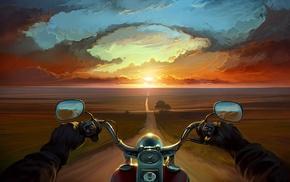небо, дорога, цифровое искусство, закат, пейзаж