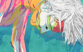white hair, girl, artwork, colorful
