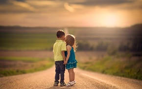 Jake Olson, children, kissing, Nebraska, road, holding hands