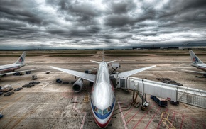 HDR, airport, aircraft, airplane, clouds, sky