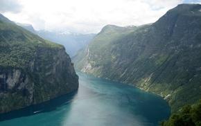 горы, природа, холм, пейзаж, река