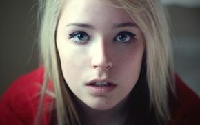 портрет, глаза, лицо, девушка, голубые глаза
