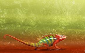 grunge, reptile, chameleons, leaves