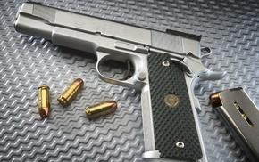 оружие, магазин, серебристый пистолет, гильзы