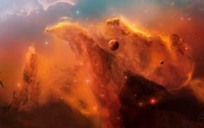 цифровое искусство, туманность, космос, космический арт