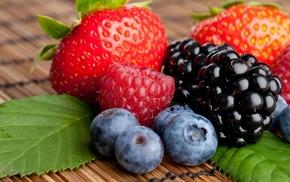 closeup, berries, raspberries, strawberries, blueberries