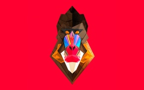 digital art, Mandrill, monkeys, artwork, Justin Maller, Facets