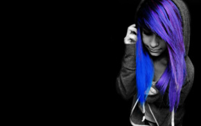 emo, purple hair, black background, selective coloring, blue hair, black