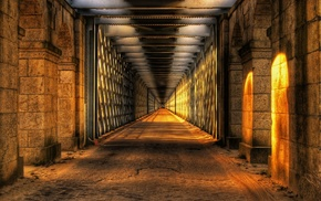 architecture, HDR, sunlight, point of view, tunnel, arch