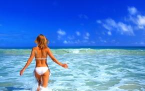 морской прибой, волна, девушки, девушка в белом купальнике