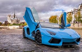 синие машины, Lamborghini Aventador, машина