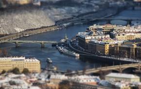 cityscape, river, building, Prague, blurred, anime