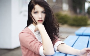 face, girl, brunette, Emily Rudd, blue eyes