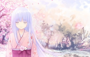 anime girls, kimono, anime, closed eyes, purple hair, long hair