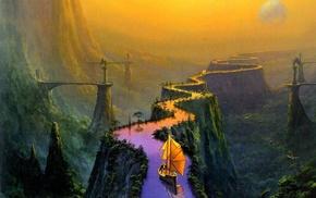 river, fantasy art, landscape, boat
