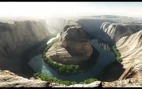 river, mountain, landscape, cave