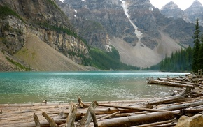 mountain, river, nature