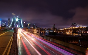 New York City, light trails, cityscape, Brooklyn, night, long exposure
