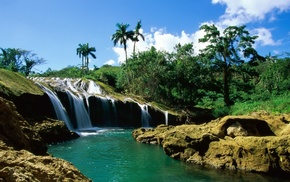nature, palm trees, stones, waterfall