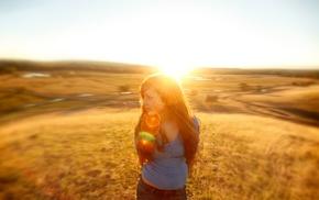 nature, sunlight, lens flare, girl outdoors, Sun