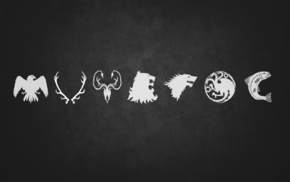 House Baratheon, sigils, House Greyjoy, Game of Thrones, House Targaryen, A Song of Ice and Fire